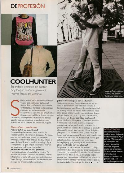 Coolhunter en Vogue. Septiembre 2001.