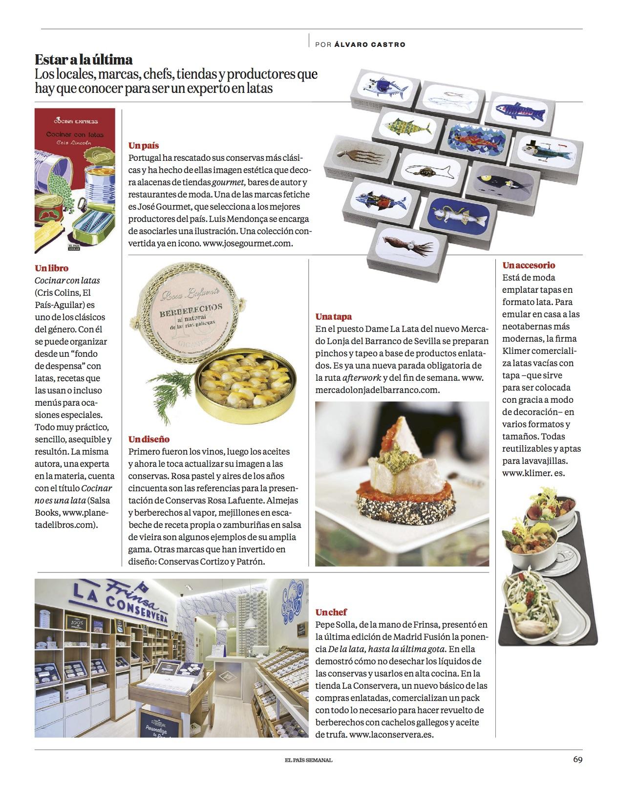 Cocinar con latas/ El País Semanal